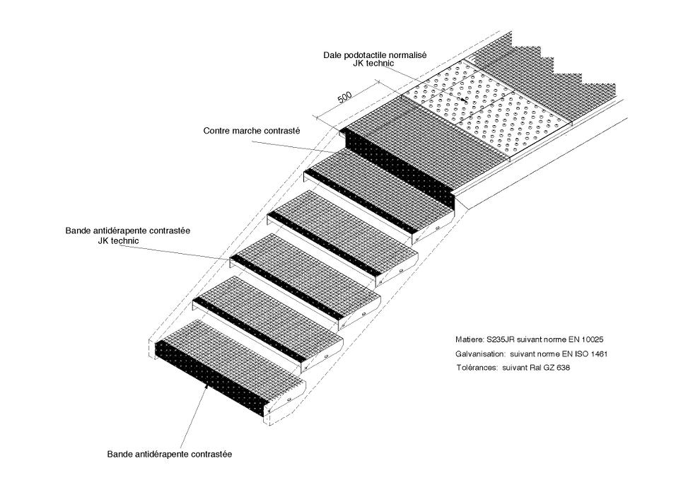 caillebotis press pour marche d 39 escalier jk technic. Black Bedroom Furniture Sets. Home Design Ideas